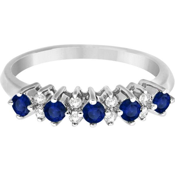 5 Stone Diamond and Blue Sapphire Ring 14k White Gold (0.53ct)