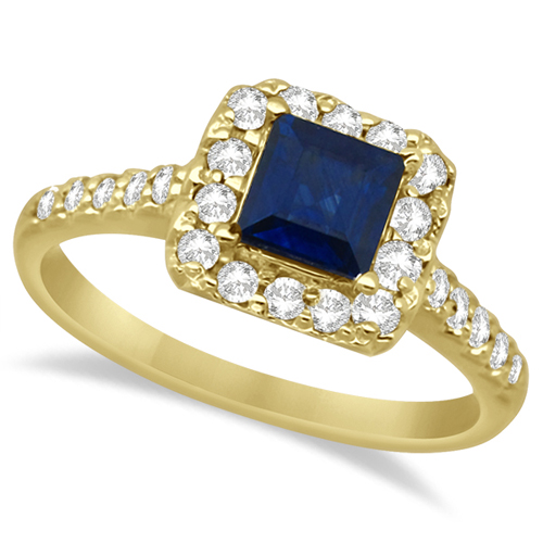 Blue Sapphire Princess Cut Halo Ring 14k Yellow Gold (1.00ctw)