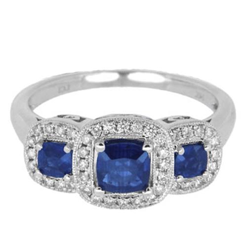 3-Stone Diamond and Blue Sapphire Ring 14k White Gold (1.05ct)