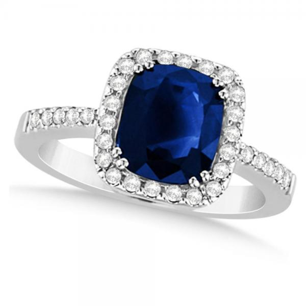 Diamond & Cushion Blue Sapphire Engagement Ring 14k White Gold (1.49ct)