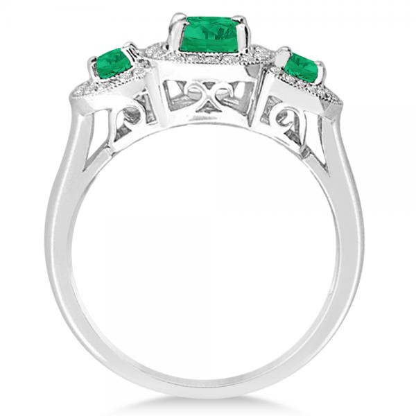 Diamond & Emerald Three Stone Fashion Ring in 14k White Gold (0.95ct)