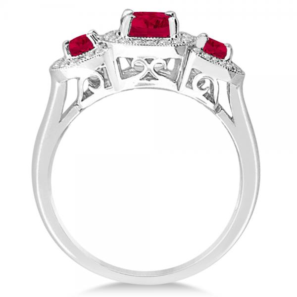 Diamond & Ruby Three Stone Fashion Ring in 14k White Gold (1.06ct)