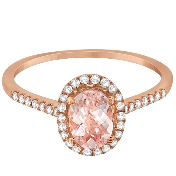 Halo Diamond and Round Morganite Ring 14k Rose Gold 0.99ct