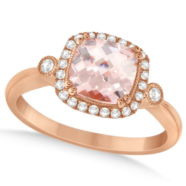 Cushion Cut Morganite Ring with Diamond Halo 14k Rose Gold 1.40ctw