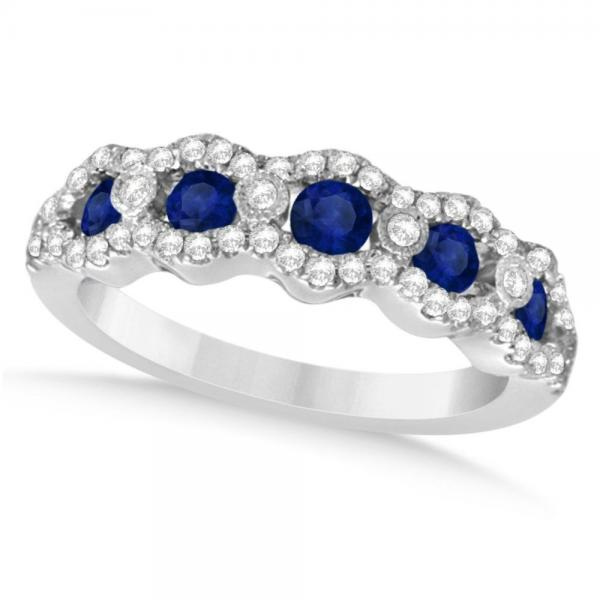 Diamond & Blue Sapphire Wedding Band in 14k White Gold (0.99ct)