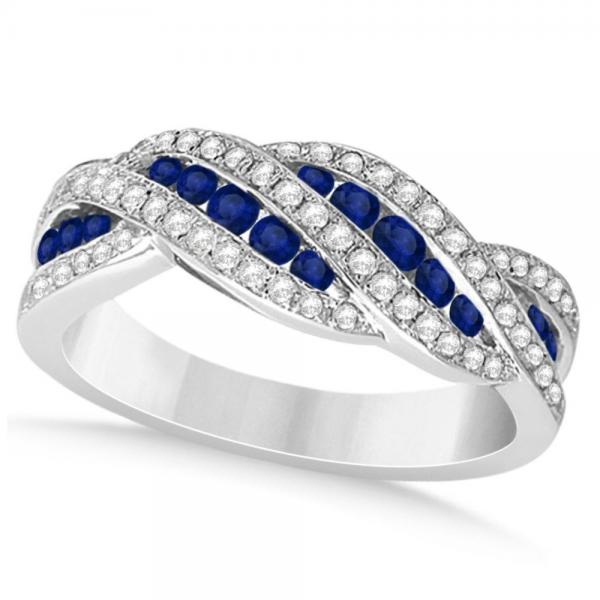 Diamond & Blue Sapphire Wedding Band in 14k White Gold (0.47ct)