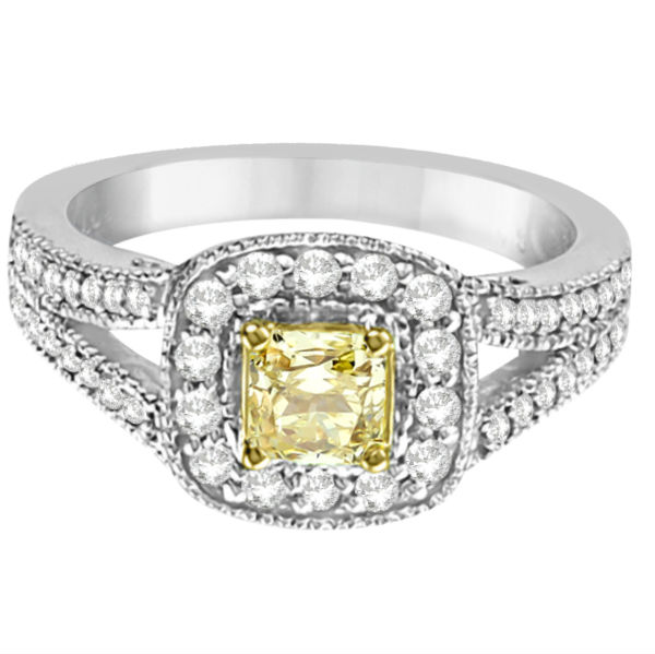 Yellow Diamond Radiant Millgrain-Edge Ring 14k White Gold (0.90ct)