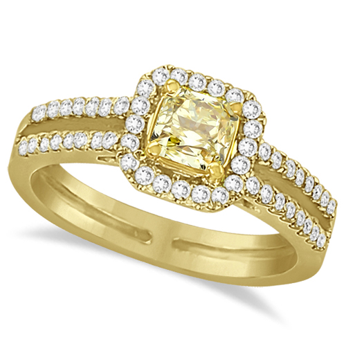 Yellow Diamond Radiant Halo Engagement Ring 18k Yellow Gold (1.00ct)