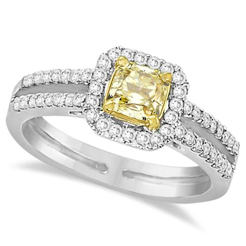 Yellow Diamond Radiant Halo Engagement Ring 14k White Gold (1.00ct)