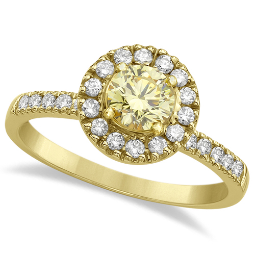 Halo Round Yellow Diamond Engagement Ring 18k Yellow Gold (0.85ct)