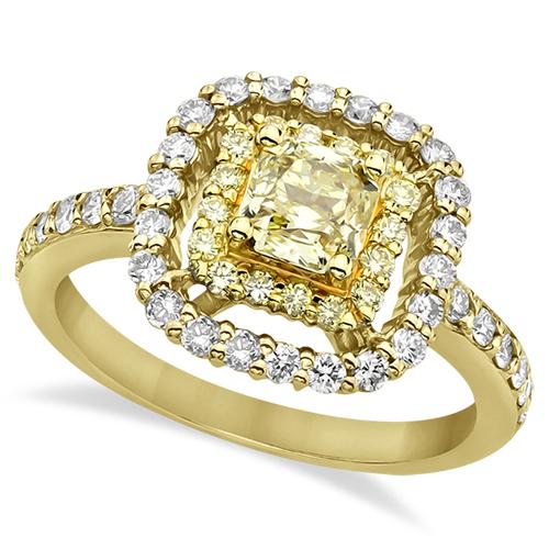 halo white and yellow engagement ring 18k yellow