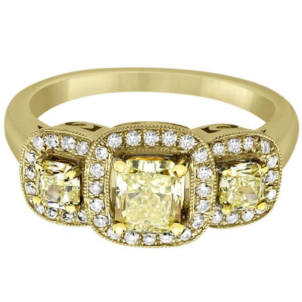 3-Stone White & Yellow Diamond Engagement Ring 18k Yellow Gold (1.15ct)