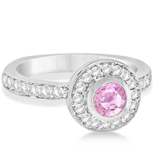 Enhanced Pink Diamond Engagement Ring Bezel Halo 14K White Gold 1.00ct