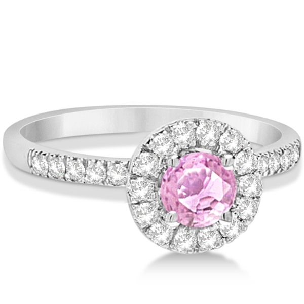 Enhanced Pink Diamond Engagement Ring Pave Halo 14K White Gold 0.81ct