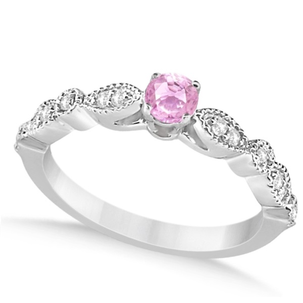 Antique White & Pink Diamond Engagement Ring 14K White Gold 0.37ct