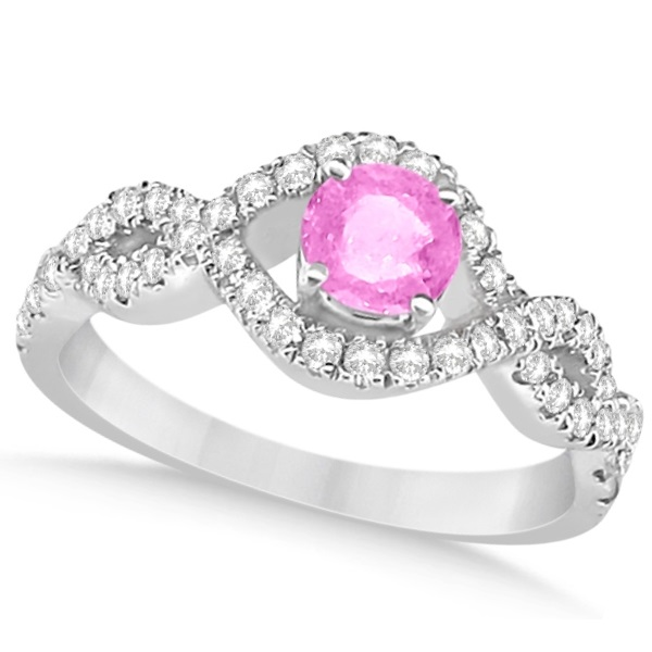 Enhanced Pink Diamond Infinity Engagement Ring 14k White Gold 0.83ct