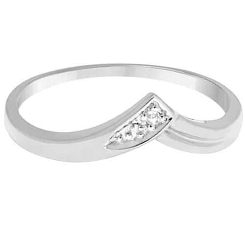 Chevron V Shaped Diamond Ring 14k White Gold (0.03ct)