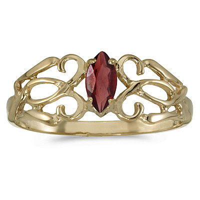 Marquise Garnet Filigree Ring Antique Style 14k Yellow Gold