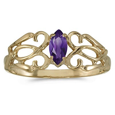 Marquise Amethyst Filigree Ring Antique Style 14k Yellow Gold