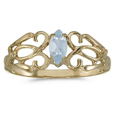 Marquise Aquamarine Filigree Ring Antique Style 14k Yellow Gold