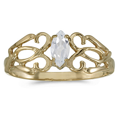 Marquise-Cut White Topaz Filigree Ring Antique Style 14k Yellow Gold