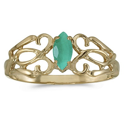 Marquise Emerald Filigree Ring Antique Style 14k Yellow Gold