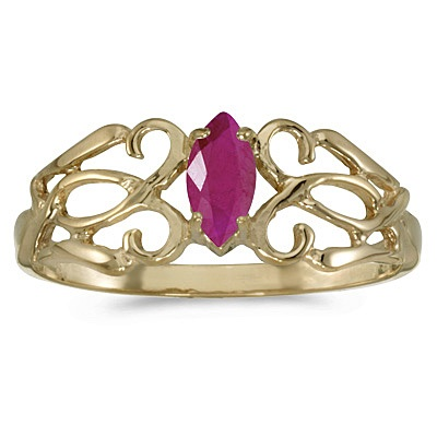 Marquise Ruby Filigree Ring Antique Style 14k Yellow Gold