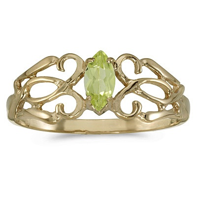 Marquise Peridot Filigree Ring Antique Style 14k Yellow Gold