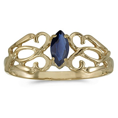 Marquise Blue Sapphire Filigree Ring Antique Style 14k Yellow Gold