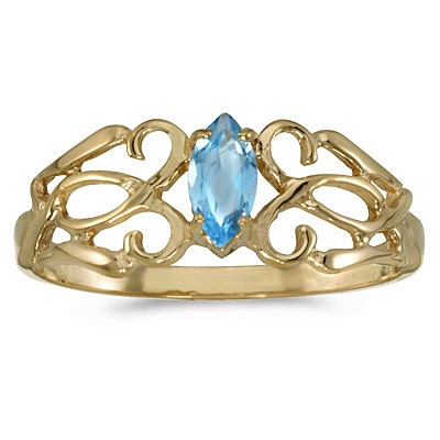 Marquise Blue Topaz Filigree Ring Antique Style 14k Yellow Gold