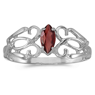 Marquise Garnet Filigree Ring Antique Style 14k White Gold