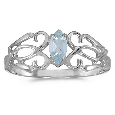 Marquise Aquamarine Filigree Ring Antique Style 14k White Gold