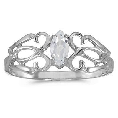 Marquise-Cut White Topaz Filigree Ring Antique Style 14k White Gold