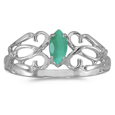 Marquise Emerald Filigree Ring Antique Style 14k White Gold