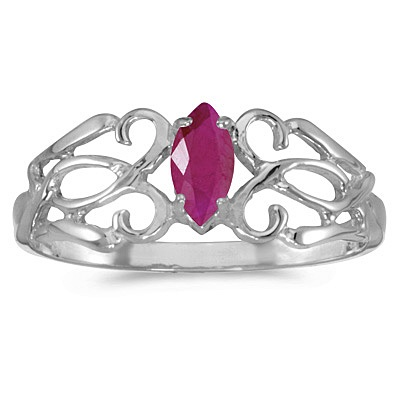 Marquise Ruby Filigree Ring Antique Style 14k White Gold