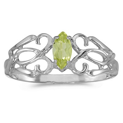 Marquise Peridot Filigree Ring Antique Style 14k White Gold