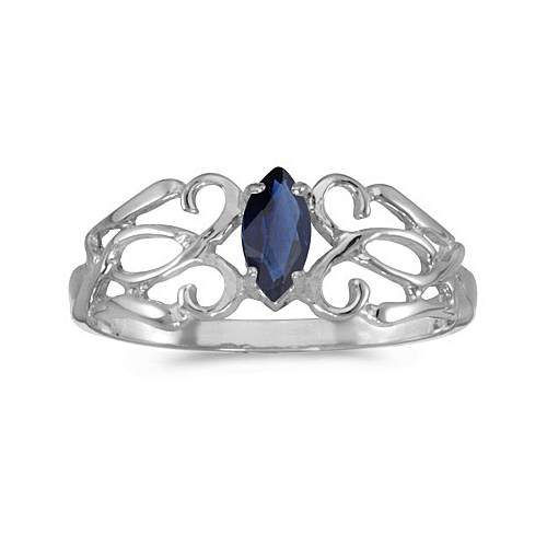 Marquise Blue Sapphire Filigree Ring Antique Style 14k White Gold