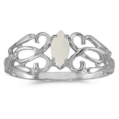 Marquise Opal Filigree Ring Antique Style 14k White Gold