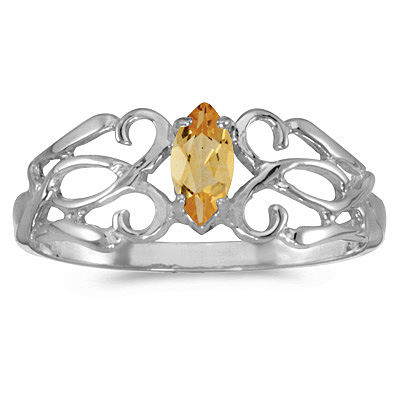 Marquise Citrine Filigree Ring Antique Style 14k White Gold