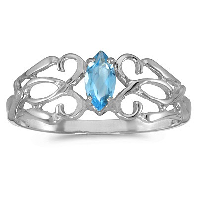 Marquise Blue Topaz Filigree Ring Antique Style 14k White Gold