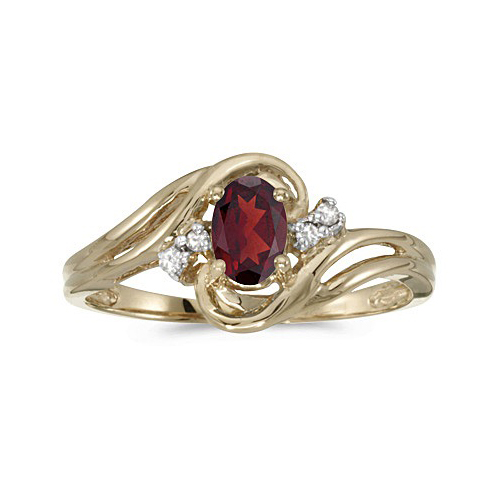 Garnet and Diamond Swirl Ring in 14k Yellow Gold (0.95ctw)