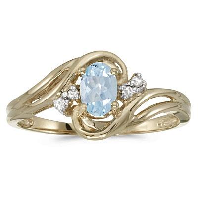 Aquamarine and Diamond Swirl Ring in 14k Yellow Gold (0.70ctw)