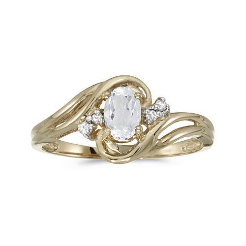 White Topaz and Diamond Swirl Ring 14k Yellow Gold (0.61ctw)