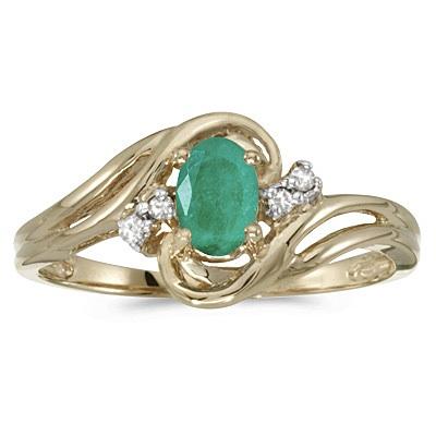 Emerald and Diamond Swirl Ring in 14k Yellow Gold (0.75ctw)