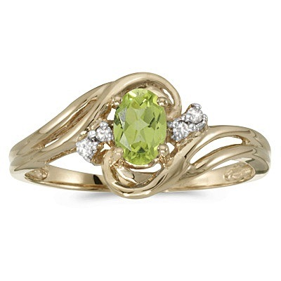 0.95tcw Peridot and Diamond Swirl Ring in 14k Yellow Gold (0.95ctw)