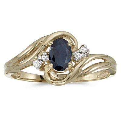 Blue Sapphire and Diamond Swirl Ring in 14k Yellow Gold (0.95ctw)