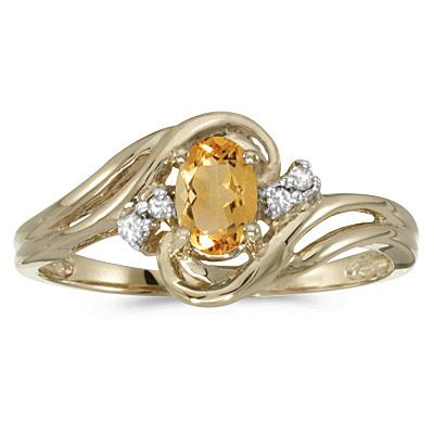 Citrine and Diamond Swirl Ring in 14k Yellow Gold (0.50ctw)