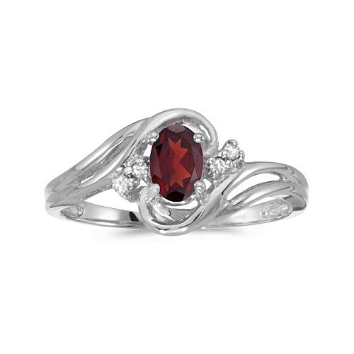 Garnet and Diamond Swirl Ring in 14k White Gold (0.95ctw)