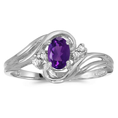 Amethyst and Diamond Swirl Ring in 14k White Gold (0.80ctw)