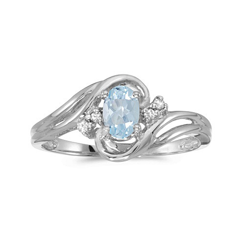 Aquamarine and Diamond Swirl Ring in 14k White Gold (0.70ctw)